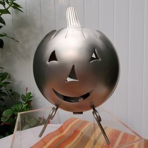 Brushed Stainless Steel Pumpkin Candle Holder